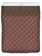 Red Brown And Green Diagonal Plaid Pattern Fabric Background Duvet Cover