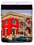 Red Building On Water Street In Saint John's-nl Duvet Cover
