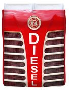 Red Bumper On Vehicle Labeled Diesel Duvet Cover