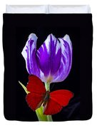 Red Butterfly And Purple Tulip Duvet Cover