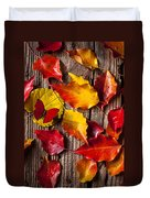 Red Butterfly In Autumn Leaves Duvet Cover
