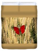Red Butterfly In The Tall Weeds Duvet Cover
