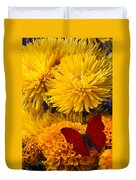 Red Butterfly On African Marigold Duvet Cover