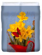 Red Butterfly On Daffodils Duvet Cover