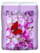 Red Butterfly On Hydrangea Duvet Cover