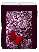 Red Butterfly On Red Mum Duvet Cover