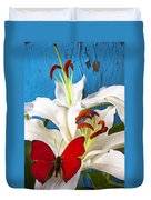 Red Butterfly On White Tiger Lily Duvet Cover
