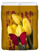 Red Butterfly Resting On Tulips Duvet Cover