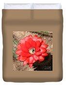 Red Cactus Flower Square Duvet Cover