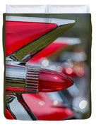 Red Cadillac Fins Duvet Cover