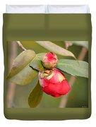Red Camelia Buds Duvet Cover