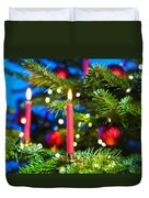 Red Candles In Christmas Tree Duvet Cover