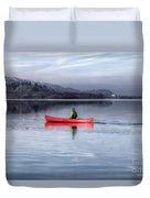 Red Canoe Duvet Cover by Adrian Evans
