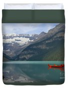 Red Canoes On Lake Louise Duvet Cover