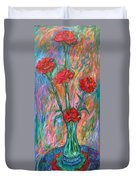 Red Carnation Melody Duvet Cover