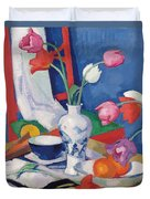 Red Chair And Tulips, C.1919 Duvet Cover