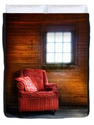Red Chair In Panelled Room Duvet Cover