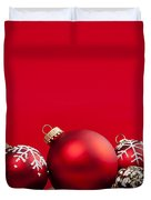 Red Christmas Baubles And Decorations Duvet Cover