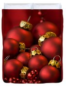 Red Christmas Baubles Duvet Cover