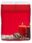 Red Christmas Candles Duvet Cover by Elena Elisseeva