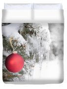 Red Christmas Ornament On Icy Tree Duvet Cover