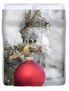 Red Christmas Ornament On Snowy Tree Duvet Cover