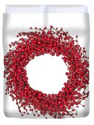Red Christmas Wreath Duvet Cover