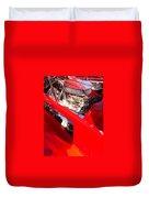 Red Classic Car Engine 2 Duvet Cover