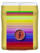 Red Compass On Rolls Of Colored Pencils Duvet Cover