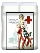 Red Cross World War 1 Poster  1918 Duvet Cover