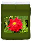 Red Dahlia Flower Duvet Cover