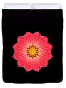 Red Dahlia Hybrid I Flower Mandala Duvet Cover