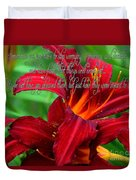 Red Day Lily And Quote Duvet Cover