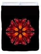 Red Daylily II Flower Mandala Duvet Cover