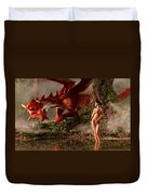 Red Dragon And Nude Bather Duvet Cover