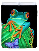 Red-eyed Tree Frog And Butterfly Duvet Cover