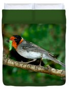 Red-faced Warbler With Caterpillar Duvet Cover
