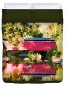 Red Fairhill Covered Bridge Duvet Cover