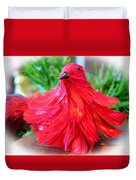 Red Feathers Duvet Cover