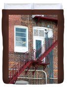 Red Fire Escape Usa II Duvet Cover