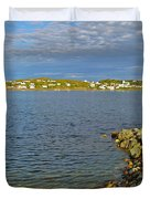 Red Fishing Boat In Twillingate Harbour-nl Duvet Cover