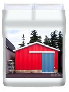 Red Fishing Shack Pei Duvet Cover by Edward Fielding