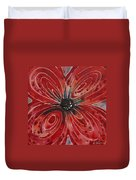 Red Flower 2 - Vibrant Red Floral Art Duvet Cover