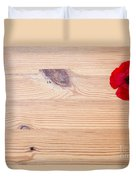 Red Flower On Wood  Duvet Cover