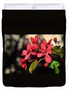 Red Flowering Crabapple Blossoms Duvet Cover