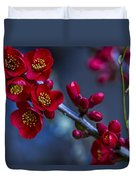 Red Flowering Quince Duvet Cover