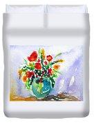 Red Flowers In A Vase Duvet Cover