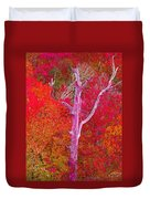Pink Tree In A  Red Forest Duvet Cover