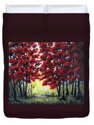 Red Forest Duvet Cover