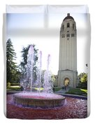 Red Fountain And Hoover Tower Stanford University Duvet Cover